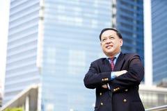 Hoger Aziatisch zakenman het glimlachen portret stock foto