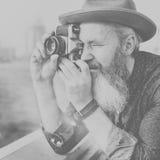 Hoger de Fotografie Reizend Concept van de Mensencamera Royalty-vrije Stock Fotografie
