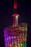 Hoger deel van de toren van TV bij nacht Stock Foto