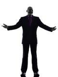 Hoger het bedrijfsmens welkom heten silhouet Royalty-vrije Stock Foto's