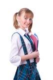 Hoger hoog schoolmeisje in eenvormig met dossiers royalty-vrije stock foto's