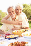 Hoger Paar dat van Maaltijd in Tuin geniet Stock Fotografie