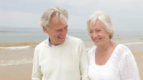 Hoger Paar die langs Misty Beach lopen stock footage