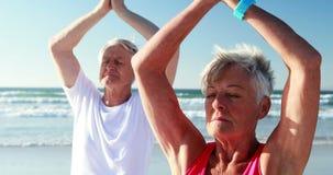 Hoger paar die yoga doen bij strand stock video