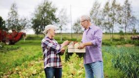 Hoger paar met doos van groenten op landbouwbedrijf stock videobeelden