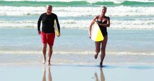 Hoger paar met surfplank die op strand lopen stock videobeelden