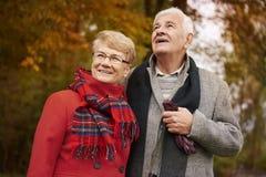 Hoger paar tijdens de herfst Stock Fotografie