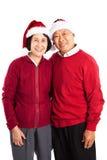 Hogere Aziatische paar het vieren Kerstmis Royalty-vrije Stock Fotografie