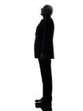 Hogere bedrijfs verraste mens het kijken omhoog silhouet Stock Afbeelding