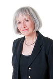 Hogere BedrijfsVrouw die het Zwarte Kostuum van de Ontwerper draagt Stock Afbeelding