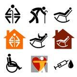 Hogere bejaarde pictogrammen Royalty-vrije Stock Afbeeldingen
