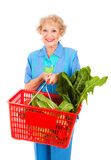 Hogere Dame Grocery Shopping Stock Afbeeldingen