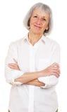 Hogere Dame Wearing White Shirt royalty-vrije stock afbeelding