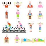 Hogere geplaatste levensstijl vlakke pictogrammen Stock Afbeelding