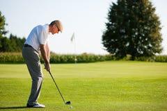 Hogere golfspeler in de zomer royalty-vrije stock foto