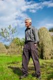 Hogere landbouwer op een weide met hooistapels Royalty-vrije Stock Afbeeldingen