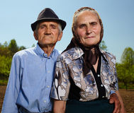 Hogere landbouwersechtgenoot en vrouw Stock Foto's