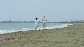 Hogere man en vrouw die langs zandig strand wandelen, die van vakantie genieten bij toevlucht stock footage