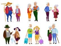 Hogere man en vrouwenactiviteiten Grootoudersdag Opa en oma Bejaard paar De vectorillustratie van het beeldverhaal royalty-vrije illustratie