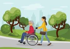Hogere man in rolstoel met zorgvuldige vrouw stock illustratie
