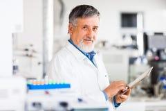 Hogere mannelijke onderzoeker die wetenschappelijk onderzoek naar een laboratorium uitvoeren Royalty-vrije Stock Foto's