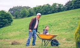 Hogere mens die hooi met hooivork op gebied harken royalty-vrije stock fotografie