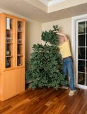 Hogere mens die kunstmatige Kerstmisboom samenbrengen voor KERSTMIS Stock Foto's