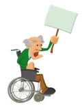 Hogere mens in een rolstoel stock illustratie