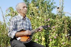 Hogere mens het spelen mandoline stock foto's