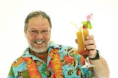 Hogere mens met cocktails Stock Foto's