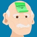 Hogere mens met de kleverige nota van Alzheimer Stock Foto's