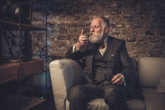 Hogere mens met een rokende pijp stock fotografie