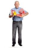 Hogere mens met gift Stock Foto