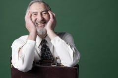 Hogere mens met oude aktentas Stock Afbeelding