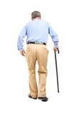 Hogere mens met riet het lopen Stock Afbeeldingen