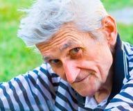 Hogere mens met wijsheidsglimlach Royalty-vrije Stock Fotografie
