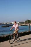 Hogere Mens op de Rit van de Cyclus stock foto
