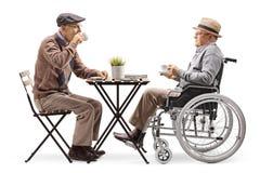 Hogere mens zitting en het drinken koffie met een gehandicapte mens in een rolstoel stock afbeeldingen