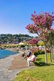 Hogere mensen die op bank in Ascona-toevlucht Ticino Zwitserland zitten Royalty-vrije Stock Foto's