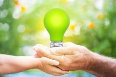Lightbulb in handen vector illustratie