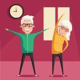 Hogere mensen en gymnastiek De vectorillustratie van het beeldverhaal Royalty-vrije Stock Afbeelding