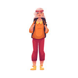 Hogere, oude grijs-haired vrouw die met een rugzak reizen royalty-vrije illustratie