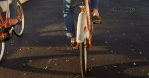 Hogere paar berijdende fiets bij promenade 4k stock video