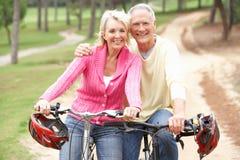Hogere paar berijdende fiets in park Stock Afbeeldingen