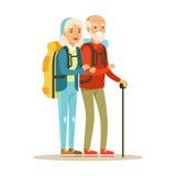 Hogere paartoeristen die met rugzakken reizen Mensen die de kleurrijke vectorillustratie van het beeldverhaalkarakter reizen stock illustratie