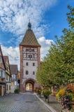 Hogere Poort in Bergheim, de Elzas, Frankrijk Stock Afbeelding