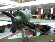 Hogere Pyshma, Rusland - Juli 02, 2016: Sovjetvechtersvliegtuigen I-16 - tentoongesteld voorwerp van het Museum van militaire uit Royalty-vrije Stock Afbeelding