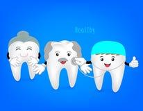 Hogere tand met tandarts en stethoscoop Royalty-vrije Stock Afbeeldingen