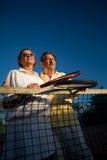 Hogere tennisspelers Stock Foto's