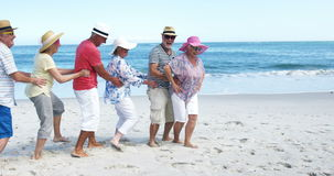 Hogere vrienden die op het strand dansen stock footage